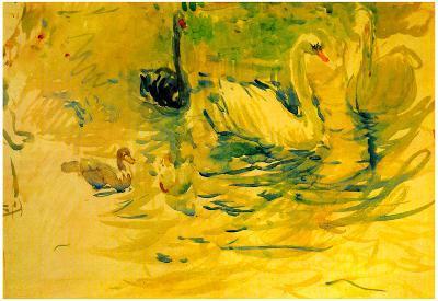 Berthe Morisot Swans Art Print Poster