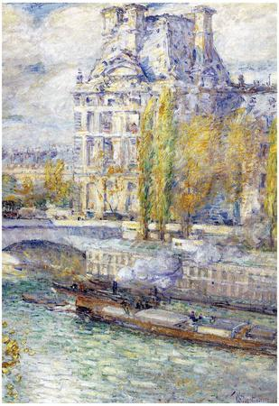 Childe Hassam The Louvre on Pont Royal Art Print Poster