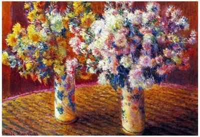 Claude Monet Two Vases with Chrysanthemums Art Print Poster