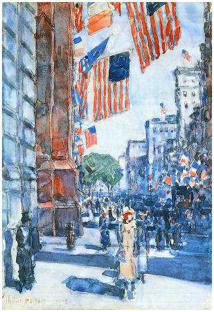 Childe Hassam Flags Fifth Avenue Art Print Poster