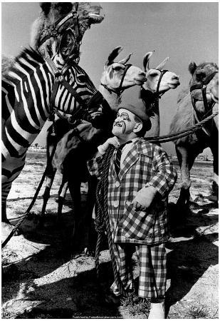 Clown with Circus Animals Archival Photo Poster