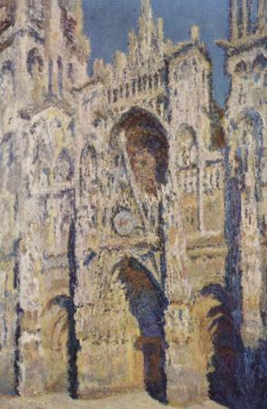 Claude Monet (Rouen Cathedral (The Portal and the tower-Romain at Staint shining sun, Poster