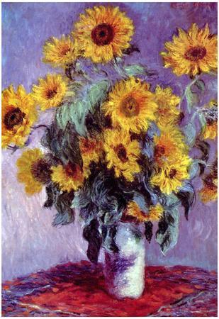 Claude Monet (Still life with sunflowers) Art Poster Print
