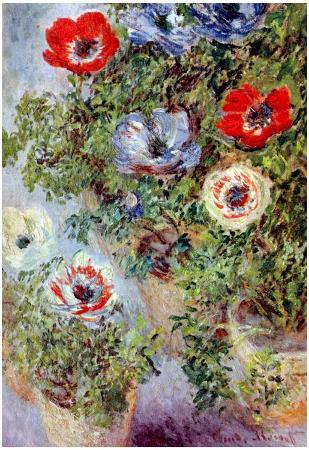 Claude Monet (Still-Life with Anemones) Art Poster Print