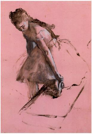Edgar Degas Dancer Slipping on her Shoe Art Print Poster