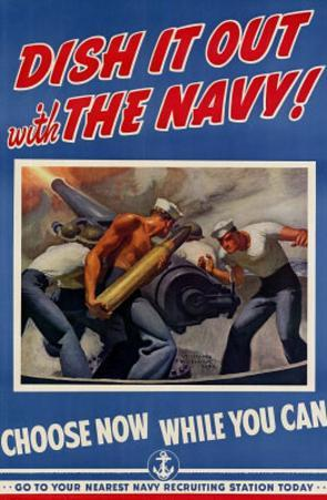 Dish It Out with the Navy WWII War Propaganda Art Print Poster