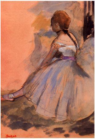 Edgar Degas Sitting Dancer with Extended Left Leg Art Print Poster