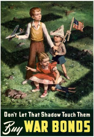 Don't Let That Shadow Touch Them Anit-Nazi Buy War Bonds WWII Propaganda Art Print Poster