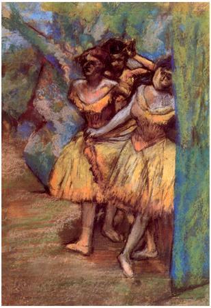 Edgar Degas Three Dancers Behind the Scenes Art Print Poster