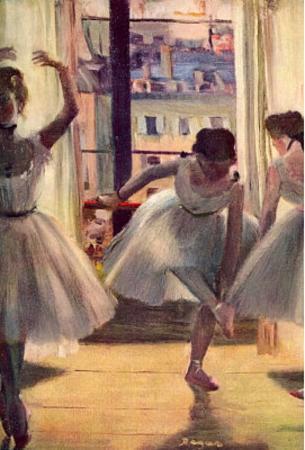 Edgar Germain Hilaire Degas (Three dancers in a practice room) Art Poster Print