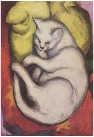 Franz Marc (Cat on a yellow cushion) Art Poster Print