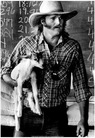 Farmer and Baby Goat Archival Photo Poster