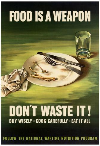 7984.Food is a weapon.don/'t waste it.empty plate of food.POSTER.art wall decor