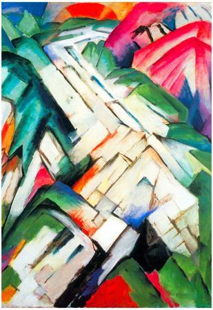 Franz Marc Mountains Landscape Cubism Print Poster