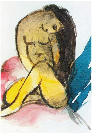 Franz Marc Sitting Yellow Lady Art Print Poster