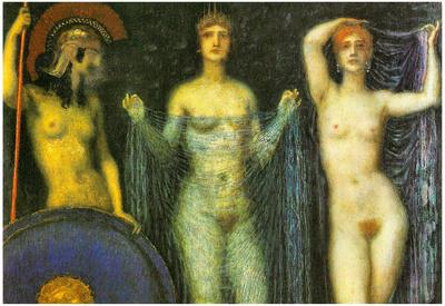 Franz von Stuck The Three Goddesses Athena Hera and Aphrodite Art Print Poster