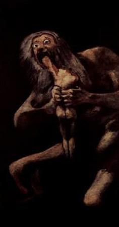 "Francisco de Goya y Lucientes (Series of ""Pinturas Negras"", Scene: Saturn swallows one of his child"