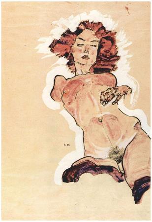Egon Schiele (Female Nude) Art Poster Print