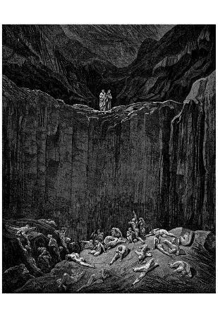 "Gustave Doré (Illustration to Dante's ""Divine Comedy,"" Inferno - Cliff) Art Poster Print"