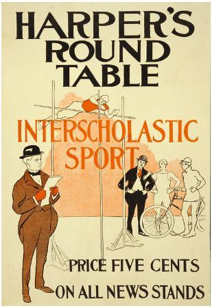 Harpers Round Table Magazine Sport Vintage Poster Print