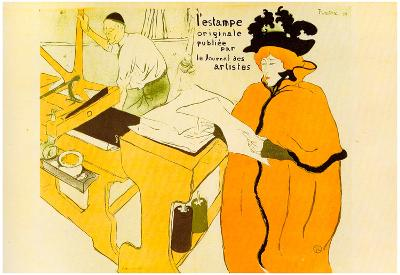 Henri de Toulouse-Lautrec Jane Avril Checking a Print Sample Art Print Poster