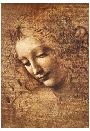Leonardo Da Vinci (Female Head, La Scapigliata) Art Poster Print Art Poster Print