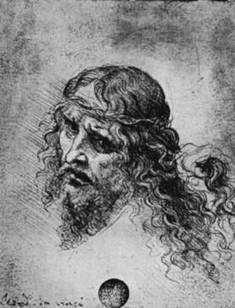 Leonardo da Vinci (Head of a dornengekronten Christ) Art Poster Print