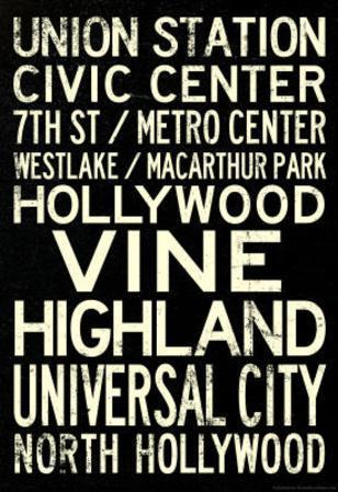Los Angeles Metro Rail Stations Vintage Subway RetroMetro Travel Poster