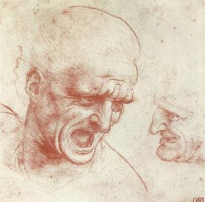 Leonardo da Vinci (Two heads) Art Poster Print