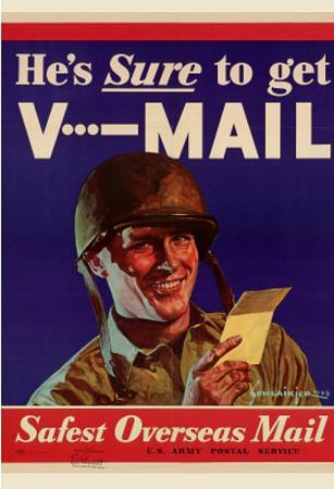 He's Sure to get V-Mail Safest Overseas Mail WWII War Propaganda Art Print Poster