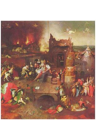 Hieronymus Bosch (Antonius altar triptych, middle panel: Temptation of St. Anthony) Art Poster Prin
