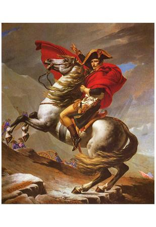 Jacques-Louis David (Napoleon exceed the great St. Bernard Pass) Art Poster Print