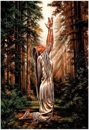 Indian Maiden Pray in Woods Art Print Poster