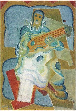 Juan Gris Pierrot Playing Guitar Cubism Art Print Poster