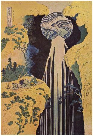 Katsushika Hokusai (The waterfall of Amida behind the Kiso Road Poster