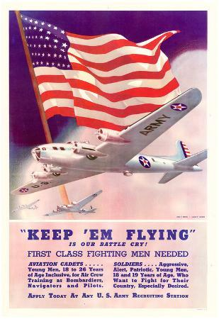 Keep Em Flying First Class Fighting Men Needed WWII War Propaganda Art Print Poster