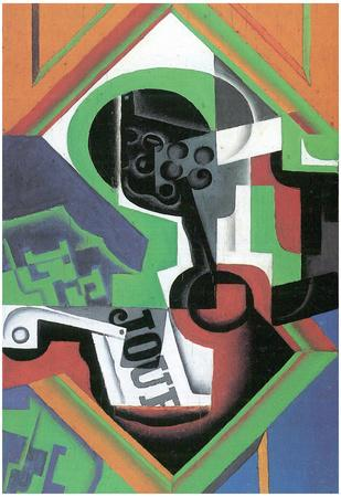 Juan Gris Whistle and Fruit Bowl of Grapes Art Print Poster