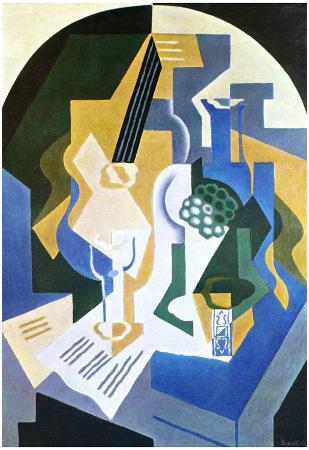 Juan Gris (Still life with fruit bowl and mandolin) Art Poster Print