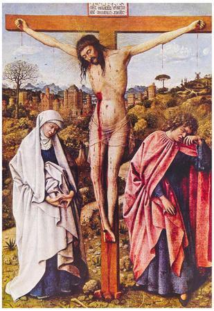 Jan Van Eyck Christ on the Cross Between Mary and John Art Print Poster