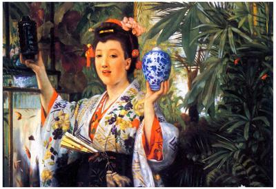 James Jacques Joseph Tissot A Young Woman holds Japanese Goods Art Print Poster