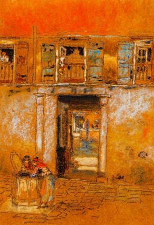 James Whistler Courtyard on Canal Grey and Red Art Print Poster