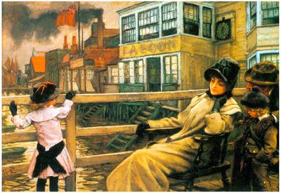 James Tissot On the Ferry Waiting #2 Art Print Poster