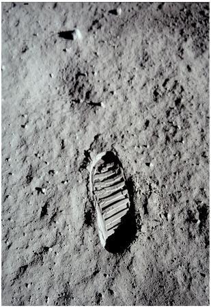 Moon Footprint (Buzz Aldrin Bootprint) Art Poster Print
