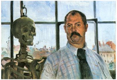 Lovis Corinth Self Portrait with Skeleton Art Print Poster