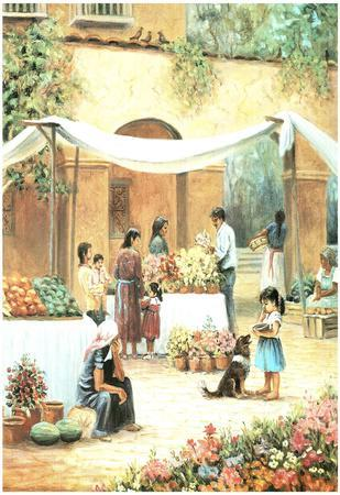 Mexican Girl Flower Stand Art Print POSTER south west