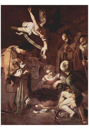 Michelangelo Caravaggio (Nativity with St. Francis and St. Lawrence) Art Poster Print