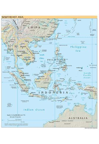 image about Printable Map of Southeast Asia called Map of Southeast Asia (Political) Artwork Poster Print