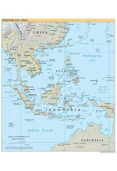 Printable Map Of Southeast Asia.Map Of Southeast Asia Political Art Poster Print