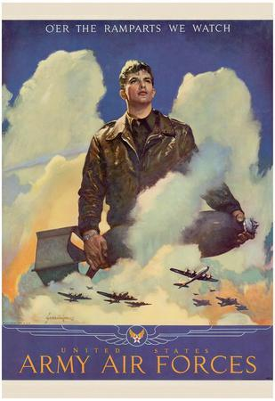 O'er the Ramparts Wa Watch United States Army Air Forces WWII War Propaganda Art Print Poster