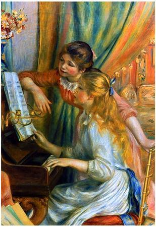 Pierre Auguste Renoir Girls at the Piano Art Print Poster